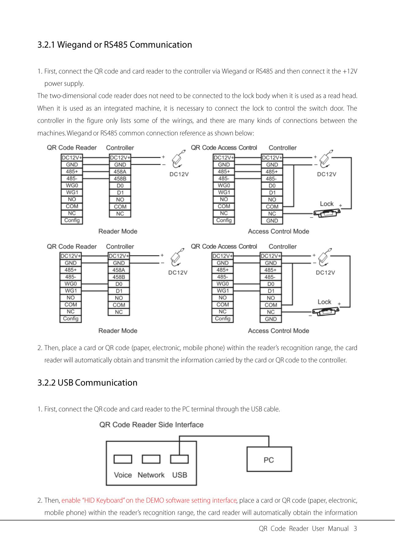 ZKTeco QR500 QR Reader Connection Diagram