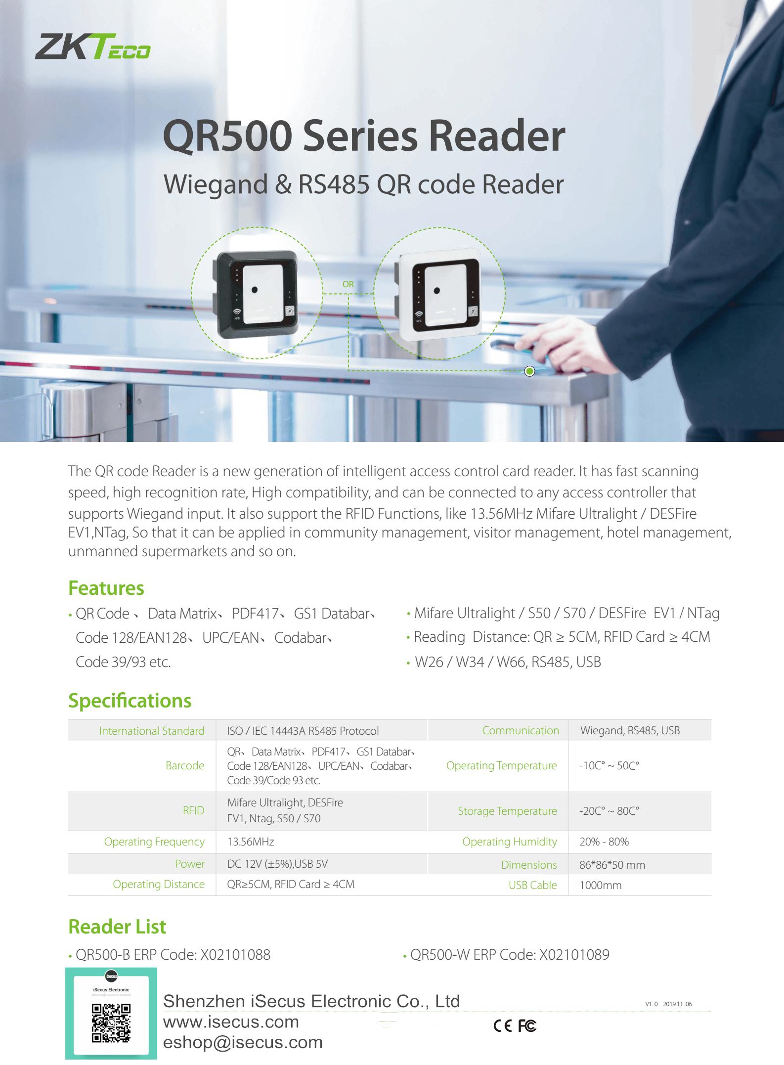ZKTeco QR500 QR Reader Datasheet